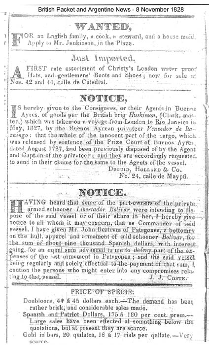 claims on the lost cargo of the 'Huskisson'